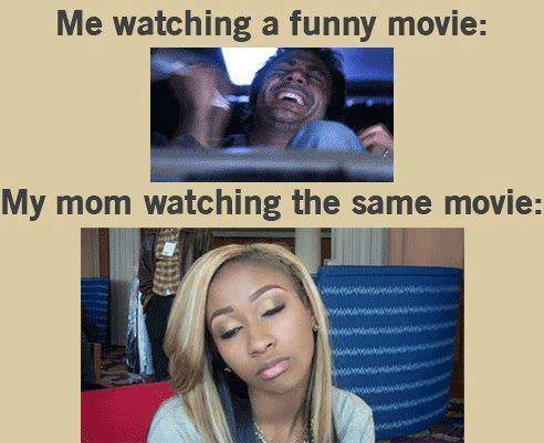 When watching a funny movie with family