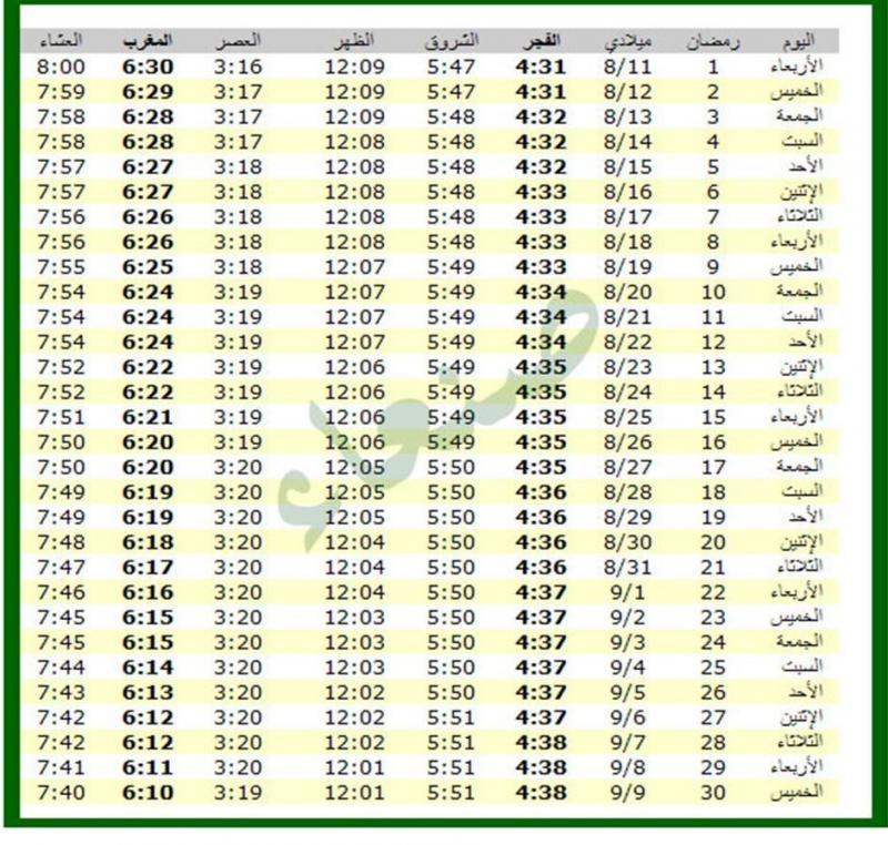 امساكية شهر رمضان 1434 - 2013 صنعاء اليمن