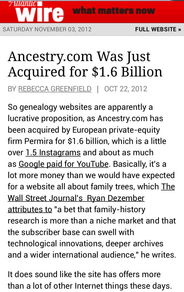 Ancestry.com تم شرائوه مقابل 1.6 بليون دولار