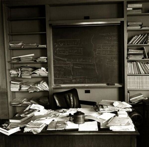 Einstein's office on the day he died, April 18th 1955