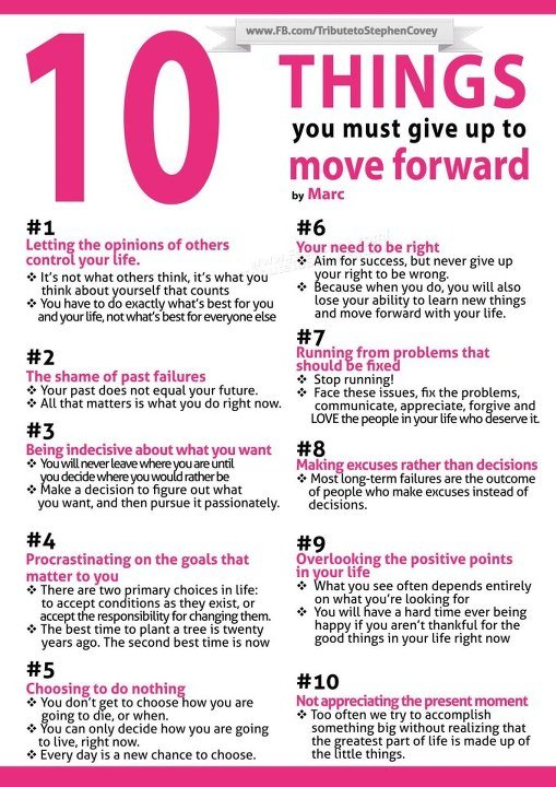 Ten things you should give up to move forward #Infographic