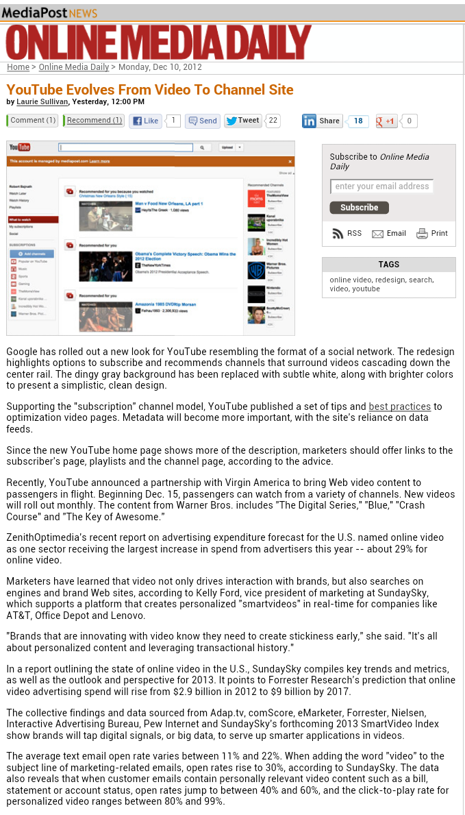 YouTube Evolves From Video To Channel Site