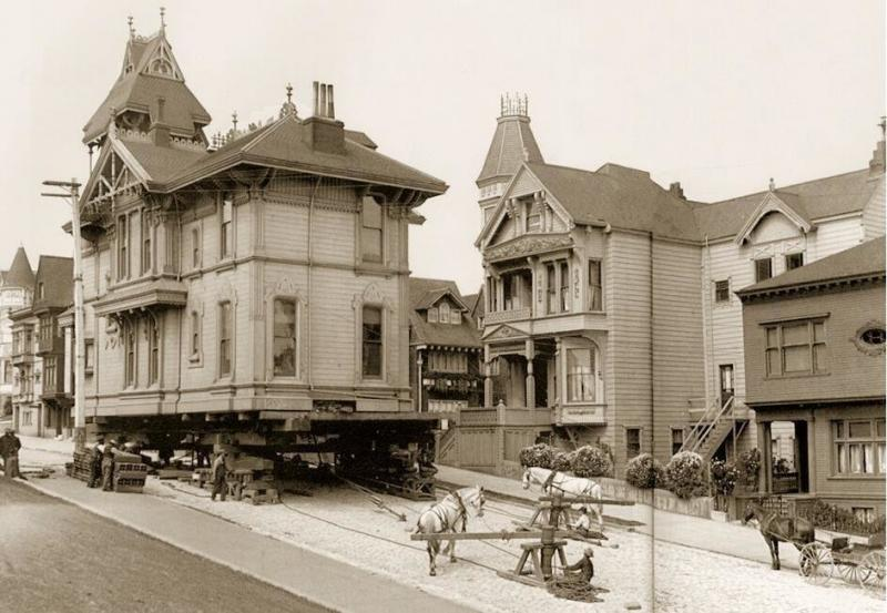 Moving a house using draught horses. San Francisco, 1908