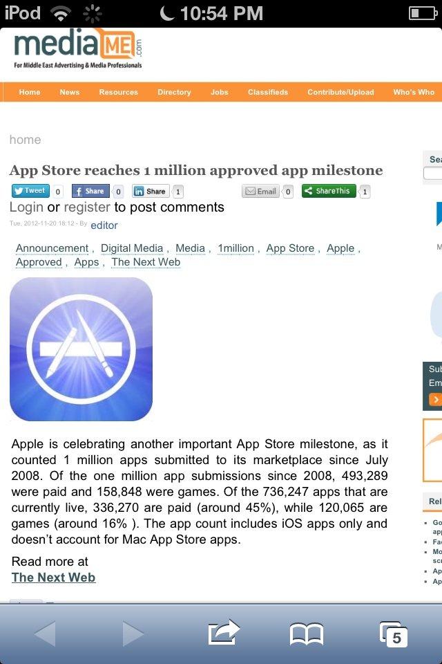Apple Store reaches 1 million approved app milestone