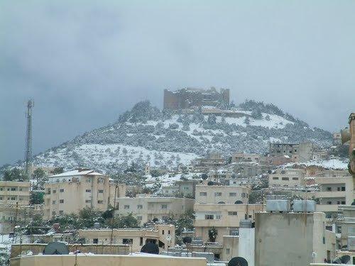 #عجلون أثناء تساقط الثلوج #الأردن