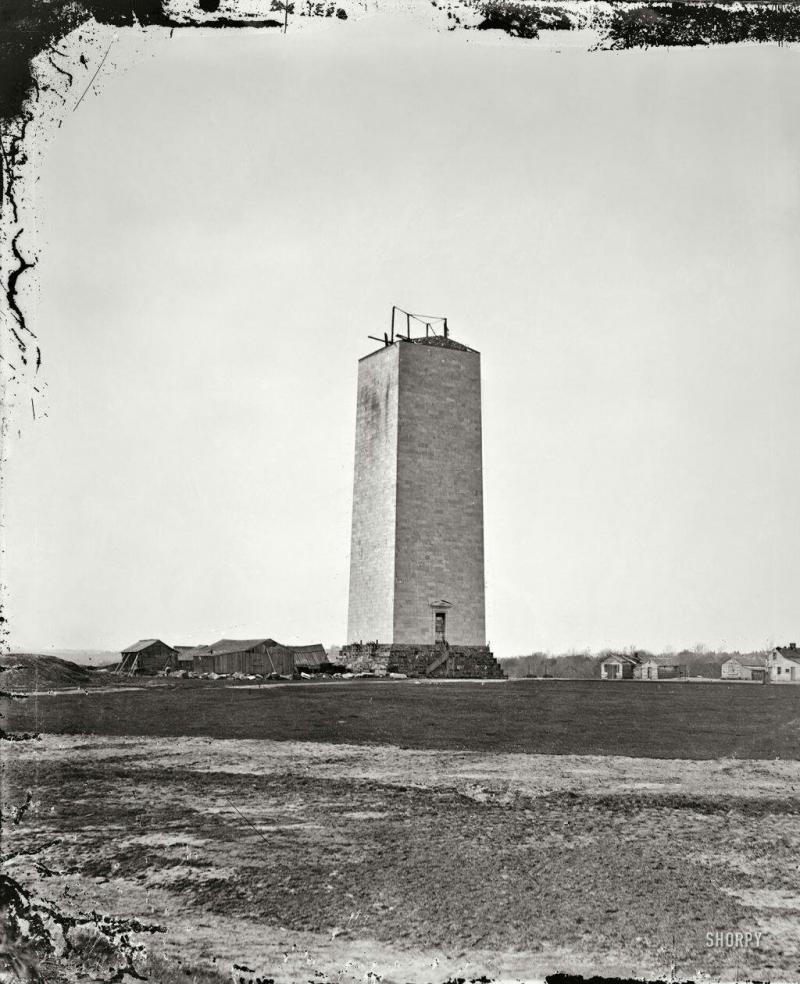 The unfinished Washington monument as it stood for 18 years (1857-1875), due to lack of funds and th