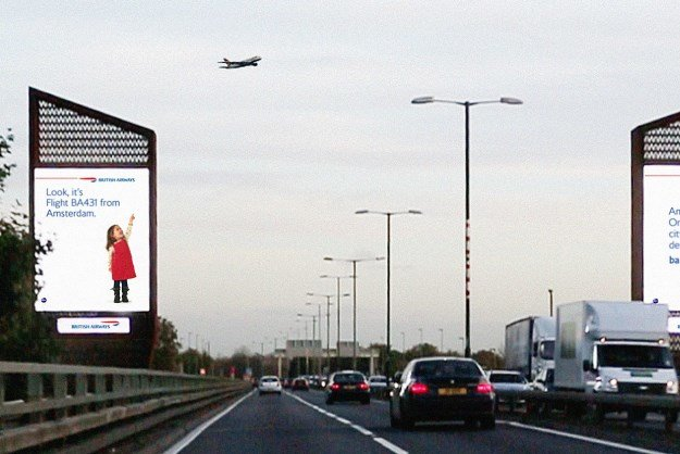 Most creative marketing campaigns 2013: British Airways Billboards Interact With Their Planes Overhe