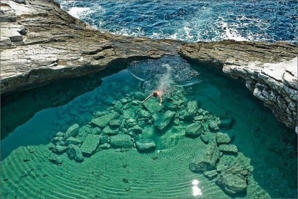 Incredibly beautiful natural pool in Thassos, Giola lagoon, Greece