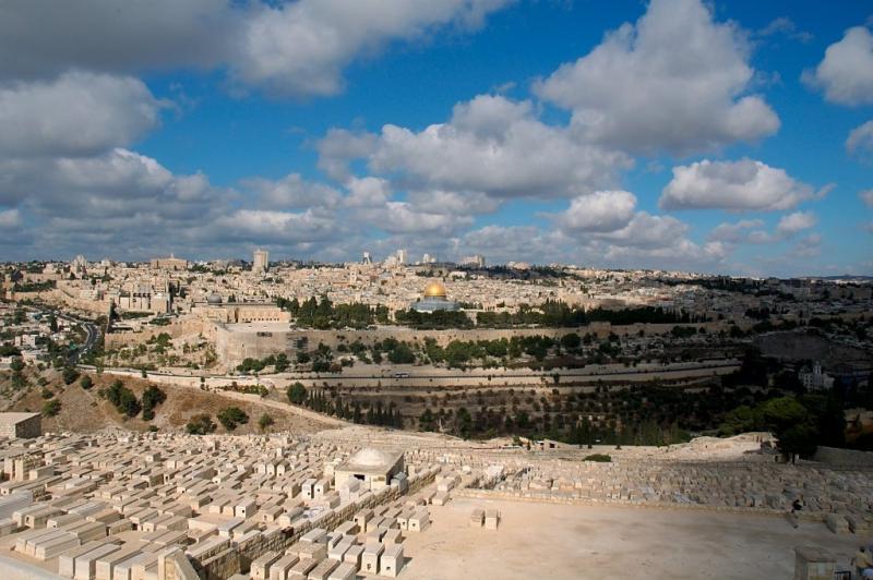 منظر عام للحرم الشريف من جبل الزيتون