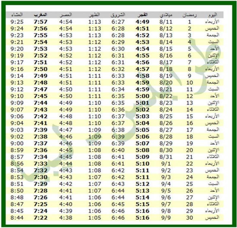 امساكية شهر رمضان 1434 - 2013 طرابلس ليبيا