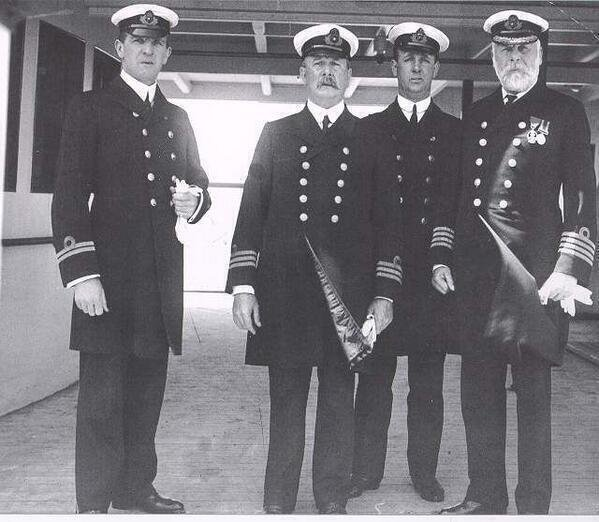 Crew of the Titanic. Captain is on the right