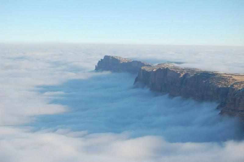 Grand Canyon the day after Thanksgiving when the entire canyon filled with fog due to temperature in