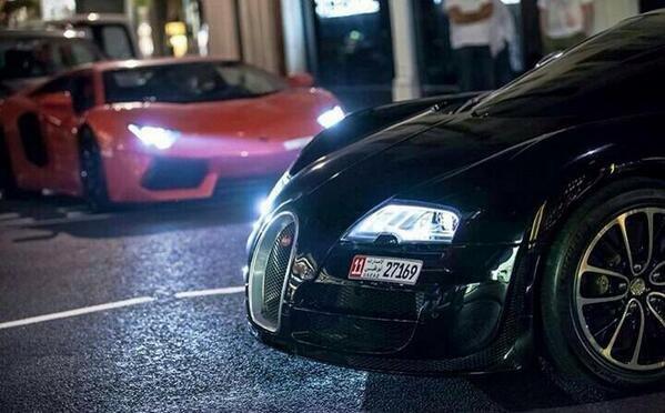 Lamborghini and a bugatti