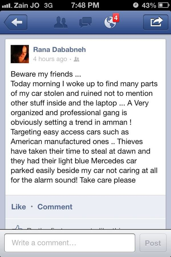 be aware cars theft in #amman
