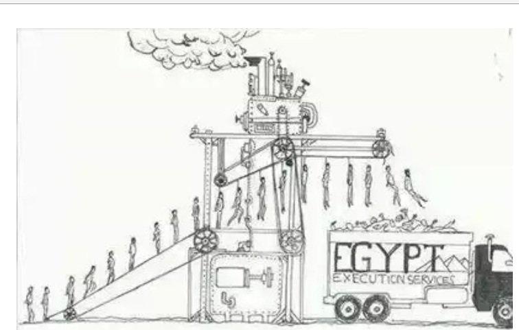 كاريكاتير عن الحكم بإعدام ٥٢٩ مصري دفعة واحده