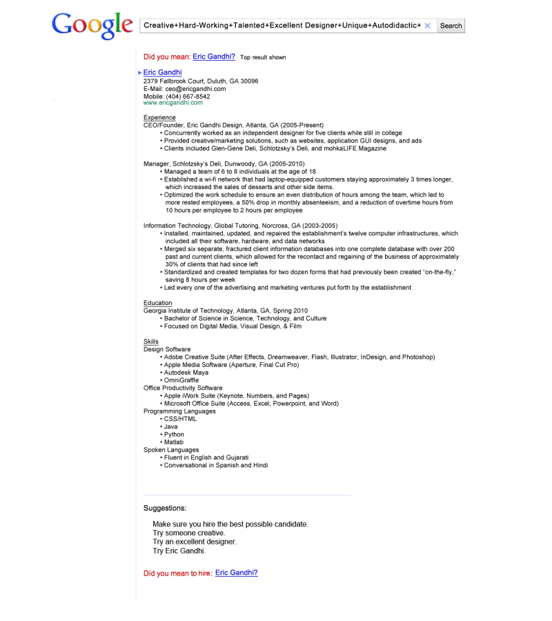 Creative Resumes #Google Search Style