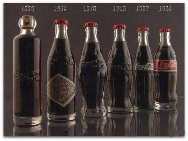 زجاجات الكولا عبر الزمن ..!