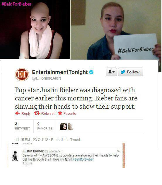 Justin Bieber fans shaved their heads bcoz of a lie on #twitter