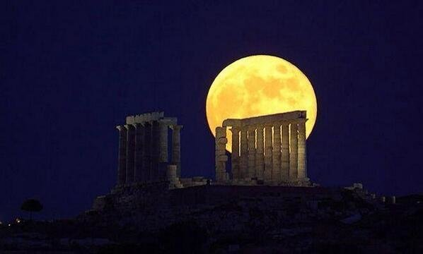 Greece Temples and the Moon