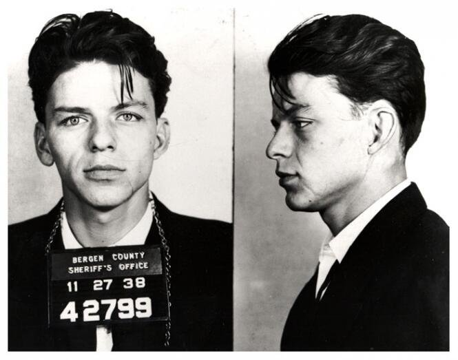 Mugshot of Frank Sinatra, taken after his arrest for seduction and adultery. 1938