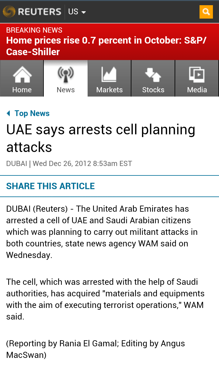 UAE says arrests cell planning attacks