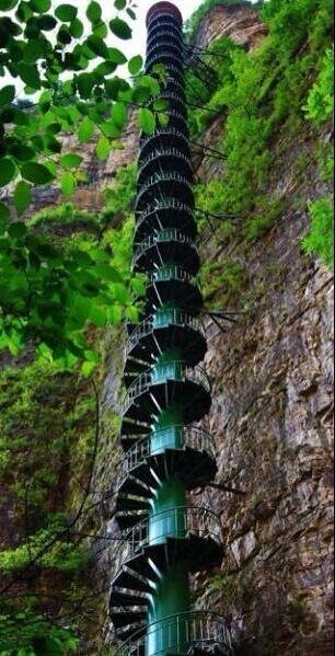 A 300-foot staircase along a mountain face in the Taihang Mountains in Linzhou, China