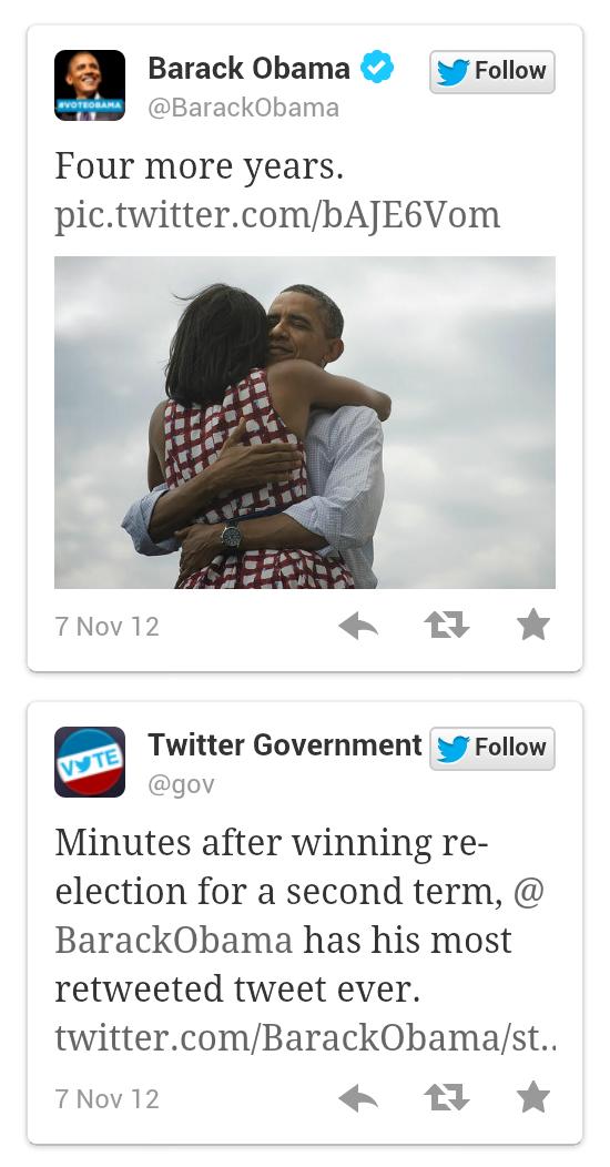 Obama's victory tweet is his most retweeted one