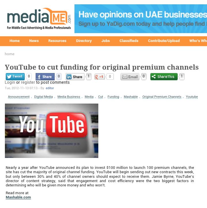 YouTube to Cut Funding for Most Original Premium Channels