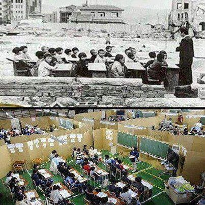 أسرار نهوض اليابان في صورتين الاولى بعد قنبلة هيروشيما 1945 الثانية بعد الزلزال الذ