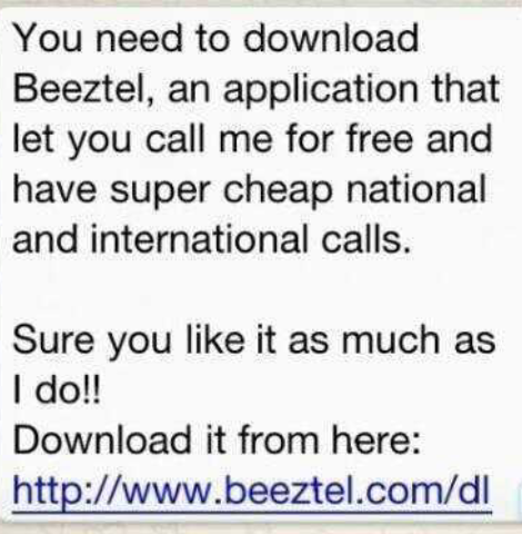 Attention: Don't download the Beeztel app through whatsapp