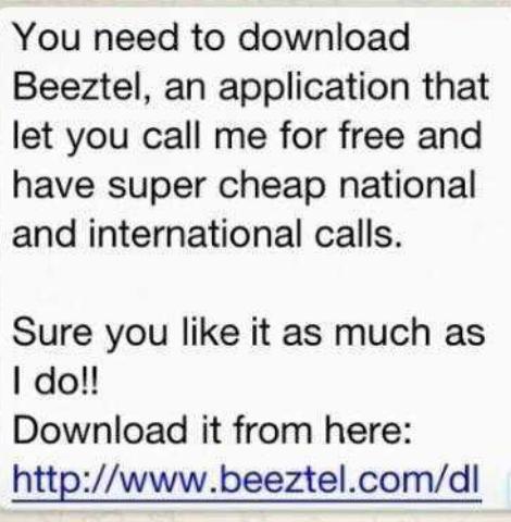 Attention: Don't download the Beeztel app through whatsapp