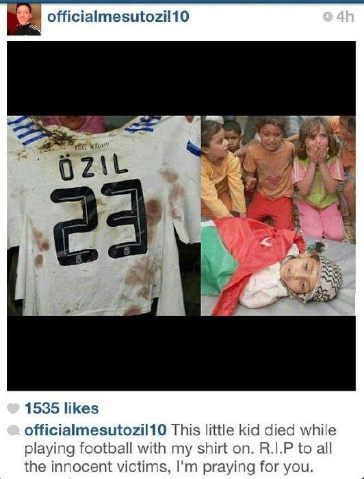 اوزيل يضع صوره الطفل الفلسطيني الذي توفى امس وهو مرتدي قميصه وعلق على الصورة سأصلي