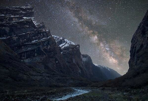 Milky Way over the Himalaya Mountains