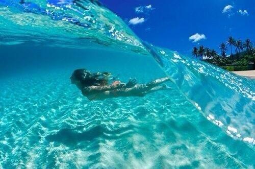 Crystal clear blue wave, Bora Bora, French Polynesia
