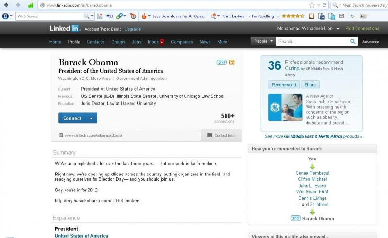 Obama Profile #Linkedin