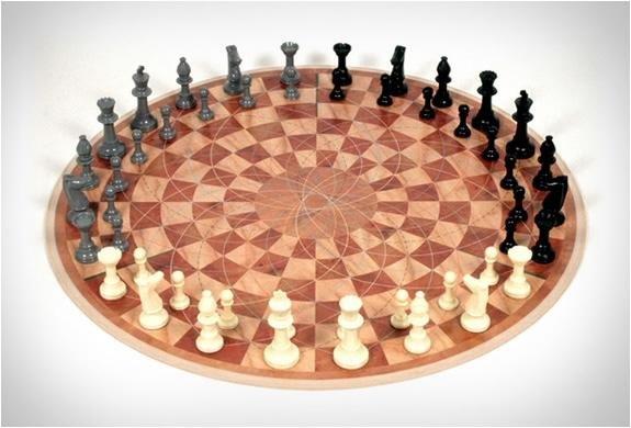 three players chess board