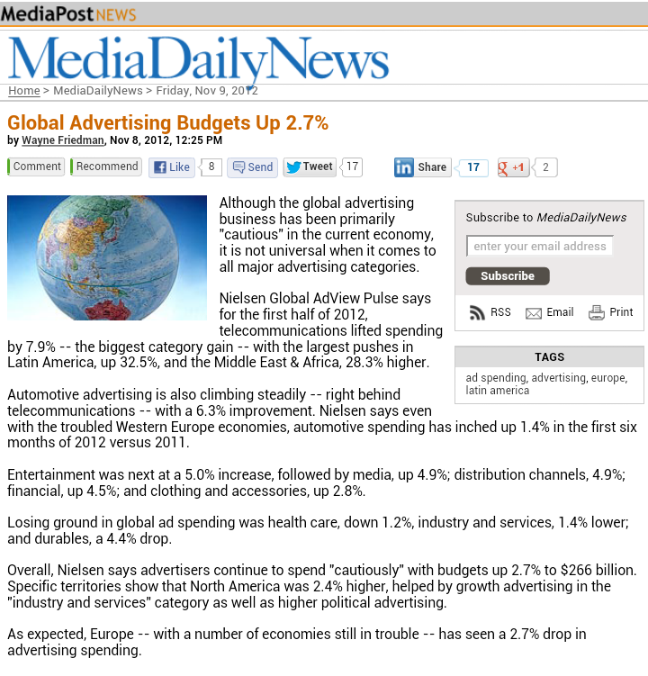 Global Advertising Budgets Up 2.7%