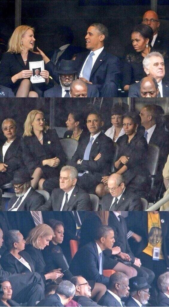 President Obama and His wife in Mandela's Funerall #funny