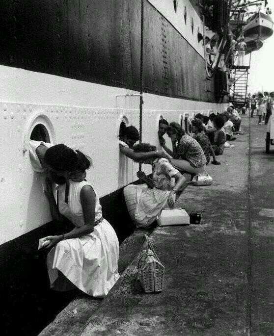 "Departure of the ""Amerigo Vespucci"", an Italian training ship. Egypt, 1963"