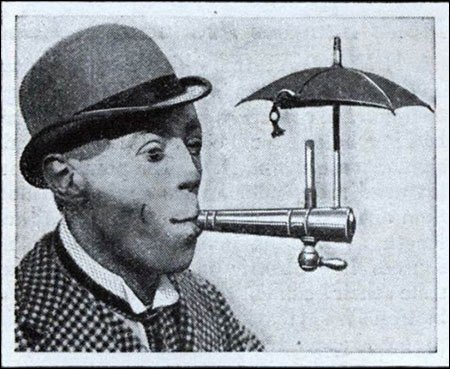 Special contraption that lets you smoke in the rain 1931