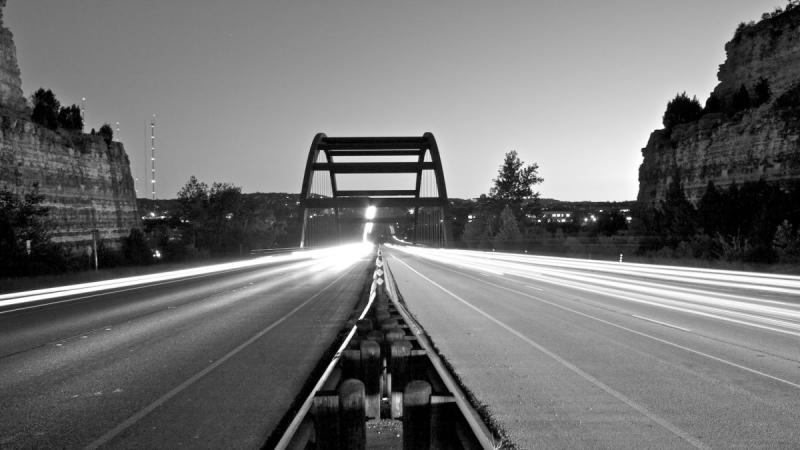Time Exposure Photography of Austin 360 Bridge B&W