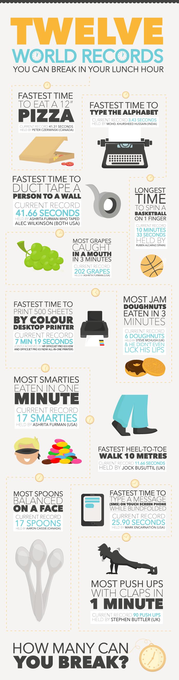 #انفوجرافيك 12 رقم قياسي يمكنك تحطيهم خلال ساعة الغداء