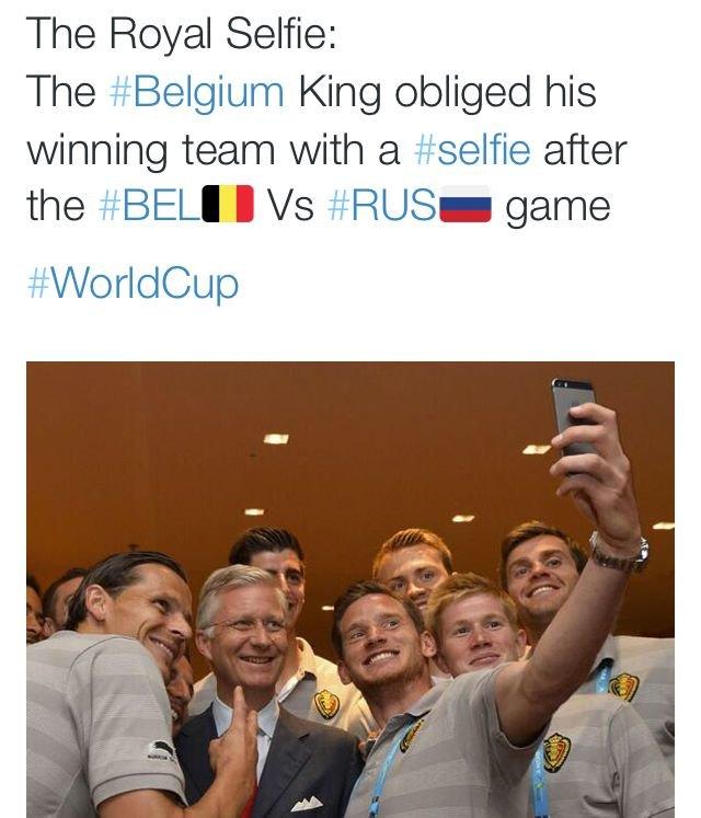 #سيلفي ملكي مع فريق بلجيكا بعد فوزهم على روسيا