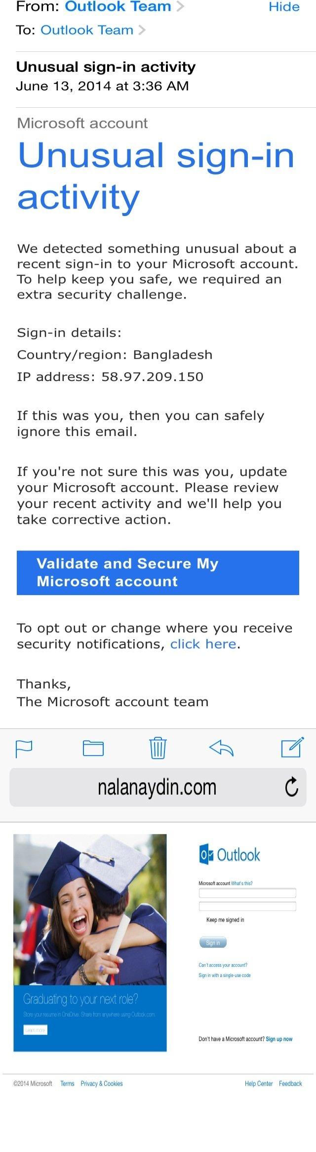 Microsoft Validation Request #Spam #theft