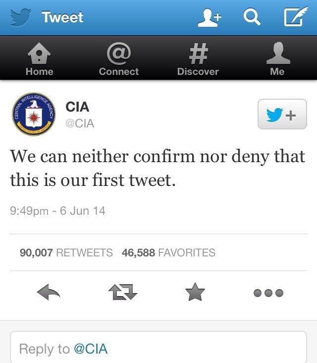 التغريدة الأولى لحساب المخابرات الأمريكية #مضحك