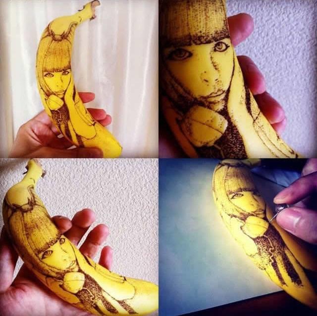 فنان ياباني يبدع في نقش رسوماته عبر نقشها على حبات الموز2