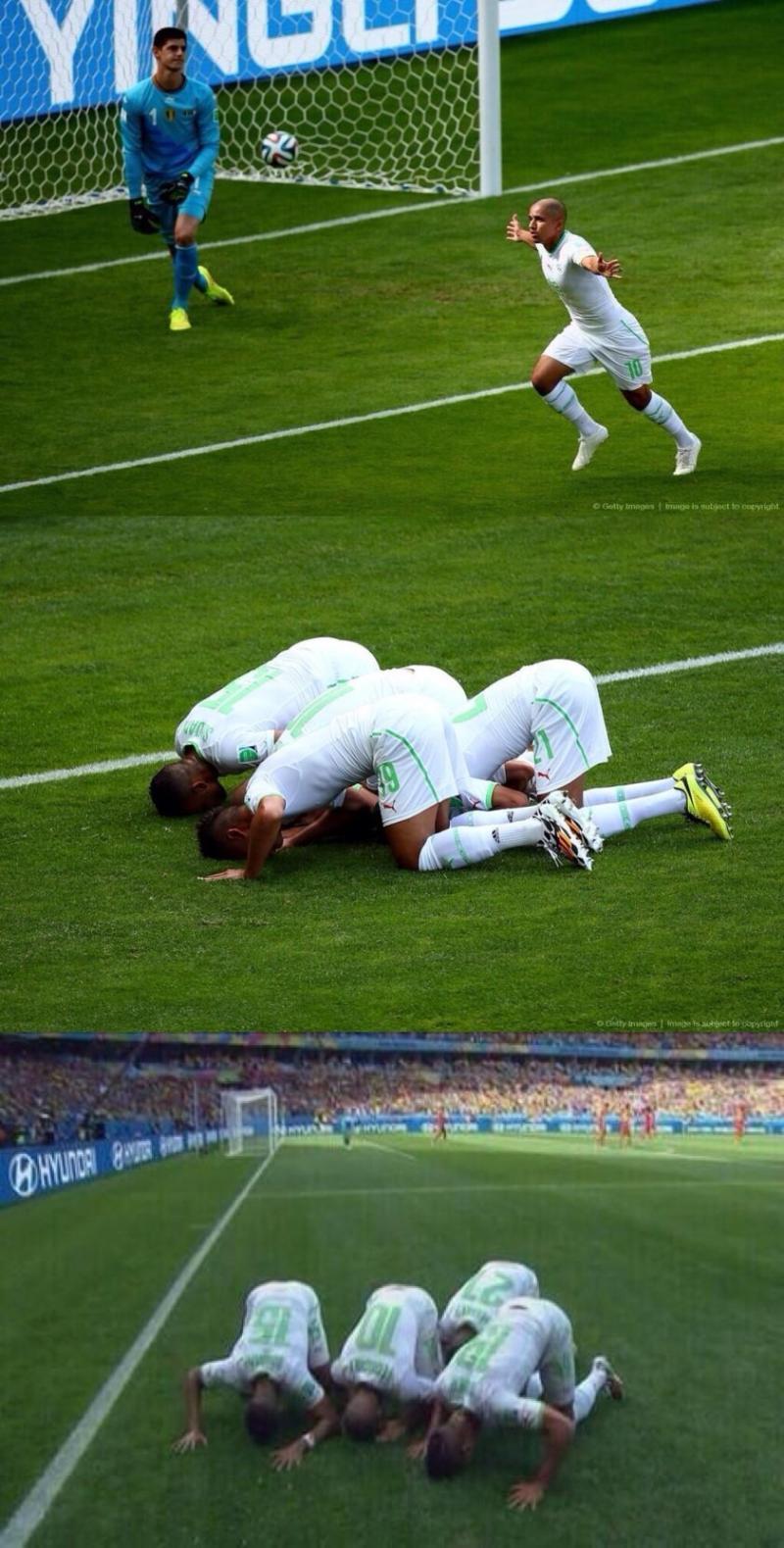 بعد هدف الجزائر في #كأس_العالم الفريق يسجد