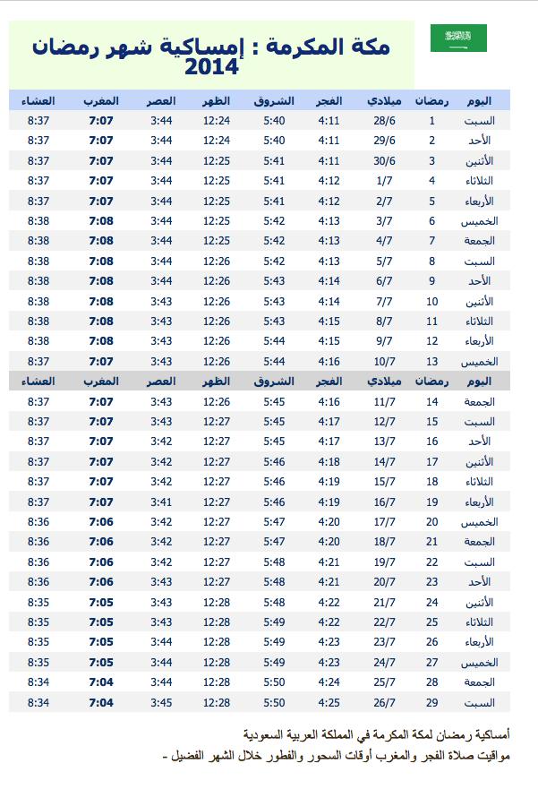 #امساكية شهر رمضان _السعودية 1435