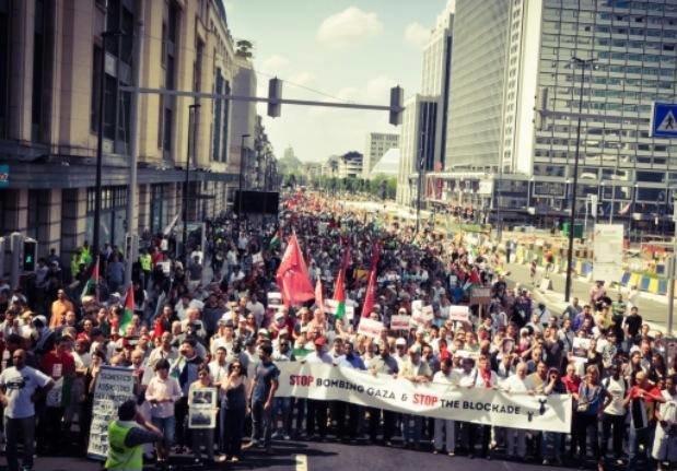 Belgium , Brussels 12 000 people stand up for Gaza, today!#GazaUnderAttack #PrayForGaza #FreePalestine #ICC4Israel