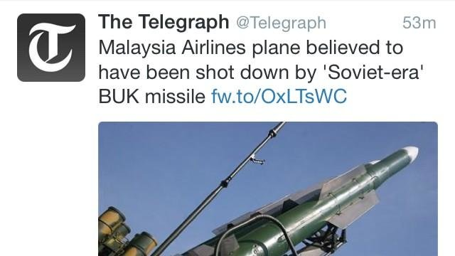التلغراف: الطيران الماليزي يؤكد سقوط الطائرة بواسطة صاروخ للإنفصاليين السوفييت المنحازين لروسيا #تحطم_طائرة_ماليزية